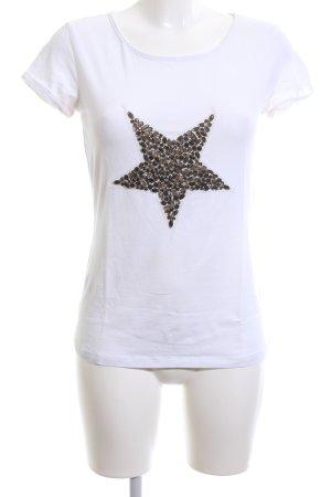 Hallhuber Donna T-Shirt weiß-braun Motivdruck Casual-Look