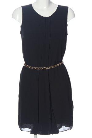 Hallhuber Donna Chiffonkleid schwarz-goldfarben Casual-Look