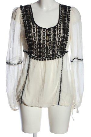 Hallhuber Donna Transparenz-Bluse weiß-schwarz Elegant