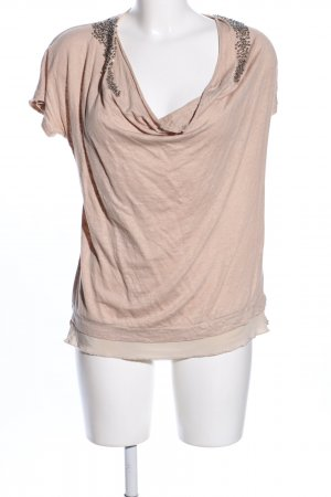 Hallhuber Donna Top col bénitier rose chair-doré style décontracté