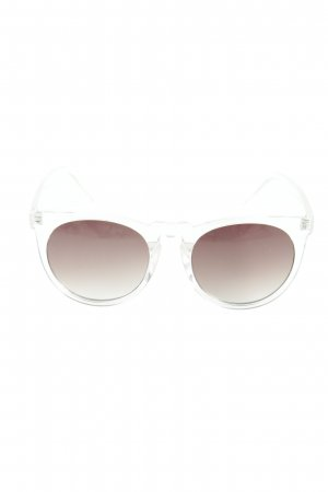 Hallhuber eckige Sonnenbrille weiß Transparenz-Optik