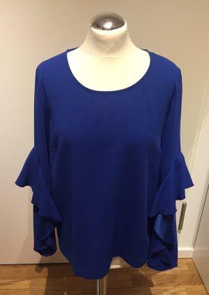 Hallhuber: Elegante Bluse mit Volantärmel in Royalblau Gr. M NEU