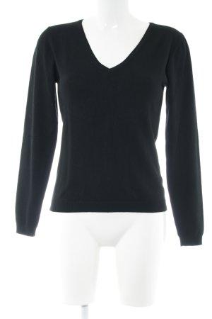 Hallhuber essentials V-Ausschnitt-Pullover schwarz Casual-Look