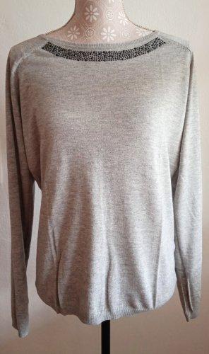 Hallhuber Sweter z dzianiny jasnoszary-czarny Modal