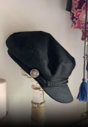 Hallhuber Baker's Boy Cap black wool