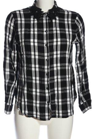 Hallhuber Camisa de franela negro-blanco look casual