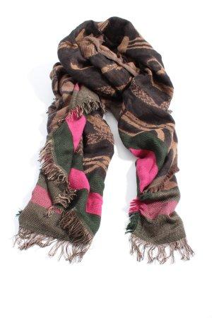 Hallhuber Écharpe à franges multicolore style décontracté
