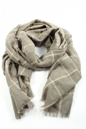 Hallhuber Fringed Scarf light grey-cream check pattern casual look