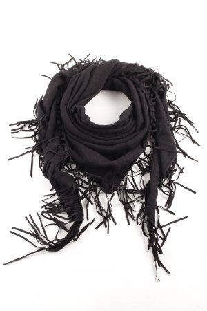 Hallhuber Sjaal met franjes zwart casual uitstraling