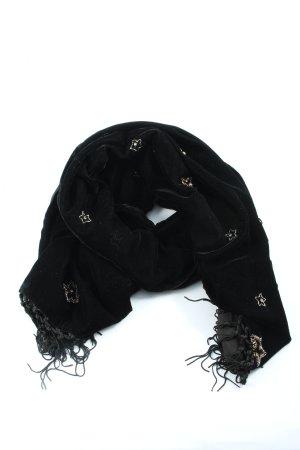 Hallhuber Bufanda de flecos negro estampado temático look casual