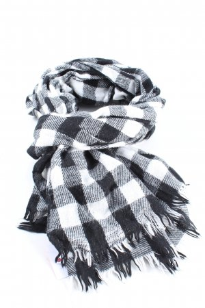 Hallhuber Fringed Scarf white-black check pattern casual look