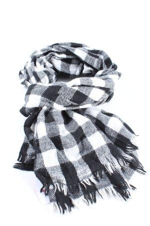 Hallhuber Sjaal met franjes wit-zwart geruite print casual uitstraling