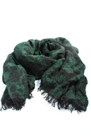 Hallhuber Sjaal met franjes groen-zwart casual uitstraling