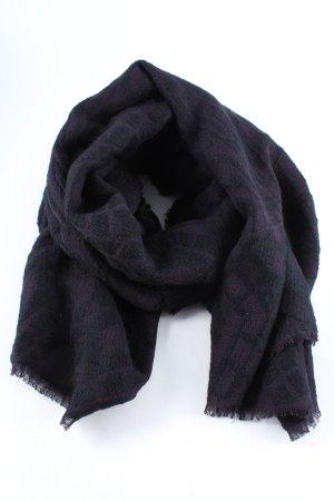 Hallhuber Bufanda de flecos negro-gris claro estampado gráfico look casual