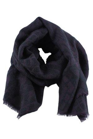 Hallhuber Sjaal met franjes zwart-lichtgrijs grafisch patroon casual uitstraling