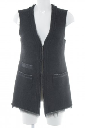 Hallhuber Fringed Vest black elegant