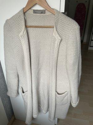 Hallhuber Manteau en tricot blanc cassé laine