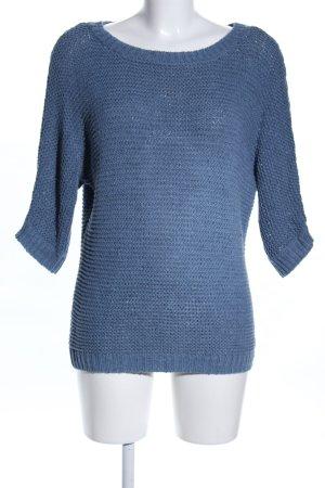Hallhuber Grobstrickpullover blau Casual-Look