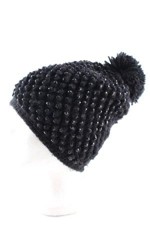 Hallhuber Häkelmütze schwarz Casual-Look