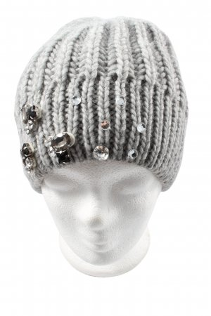 Hallhuber Crochet Cap light grey cable stitch casual look