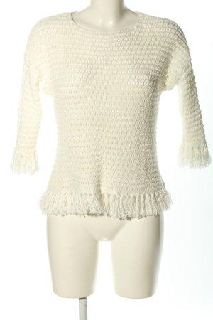 Hallhuber Szydełkowany sweter biały W stylu casual