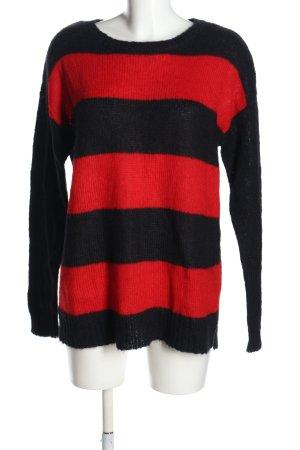 Hallhuber Häkelpullover schwarz-rot Streifenmuster Casual-Look