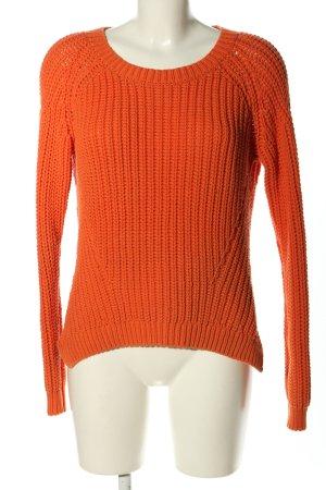 Hallhuber Szydełkowany sweter jasny pomarańczowy Warkoczowy wzór