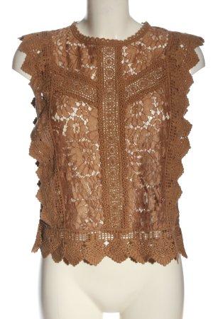 Hallhuber Camisa de ganchillo color bronce elegante