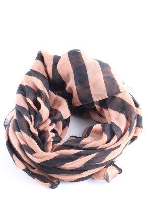 Hallhuber Halsdoek zwart-roze gestreept patroon casual uitstraling