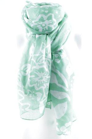 Hallhuber Halsdoek groen-wolwit bloemenprint casual uitstraling
