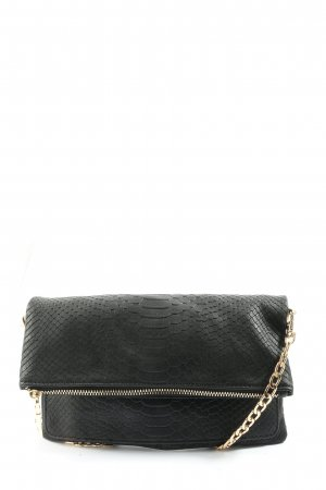 Hallhuber Handtasche schwarz-goldfarben Animalmuster Casual-Look