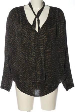 Hallhuber Hemd-Bluse schwarz-creme abstraktes Muster Casual-Look