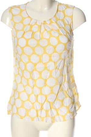 Hallhuber Hemd-Bluse weiß-blassgelb Allover-Druck Casual-Look