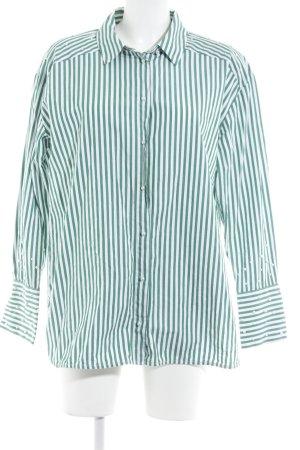 Hallhuber Hemd-Bluse weiß-grün Streifenmuster Casual-Look