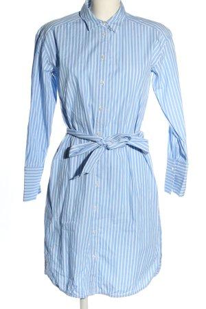 Hallhuber Abito blusa camicia blu-bianco motivo a righe stile casual