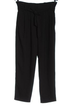 Hallhuber Pantalón de cintura alta negro estilo «business»