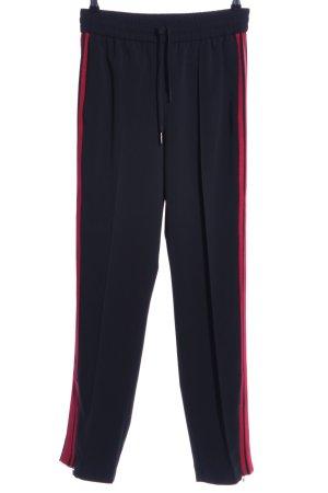 Hallhuber High-Waist Hose schwarz-rot Streifenmuster Casual-Look
