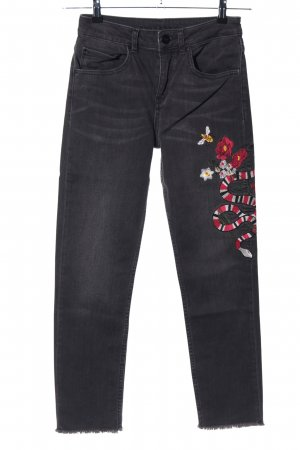 Hallhuber High Waist Jeans black-red themed print casual look