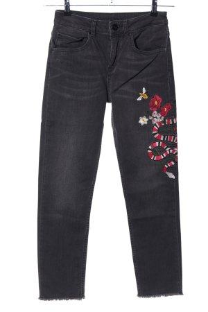 Hallhuber Hoge taille jeans zwart-rood prints met een thema casual uitstraling