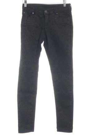 Hallhuber Hoge taille jeans zwart-brons bloemen patroon casual uitstraling