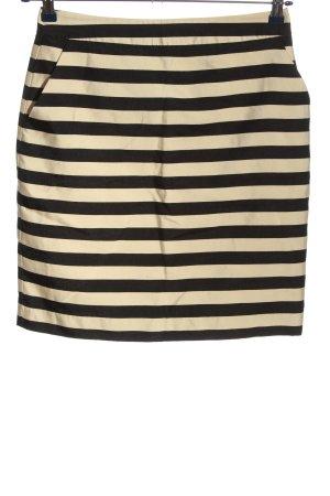 Hallhuber Falda de talle alto negro-blanco puro estampado a rayas look casual