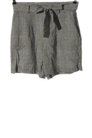 Hallhuber Pantaloncino a vita alta nero-bianco motivo a quadri stile casual