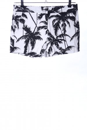 Hallhuber High-Waist-Shorts weiß-schwarz Allover-Druck Casual-Look
