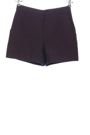 Hallhuber High-Waist-Shorts schwarz-rot Allover-Druck Casual-Look