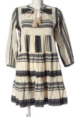 Hallhuber Sukienka boho w kolorze białej wełny-czarny W stylu casual