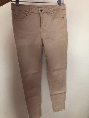 Hallhuber Lniane spodnie beżowy Bawełna