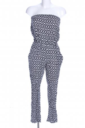 Hallhuber Trouser Suit black-white allover print casual look