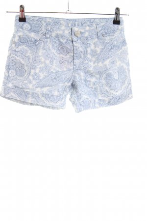 Hallhuber Hot Pants weiß-blau abstraktes Muster Casual-Look