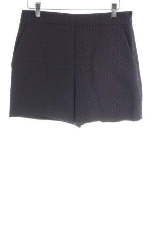 Hallhuber Hot Pants dunkelblau-karminrot Punktemuster Casual-Look