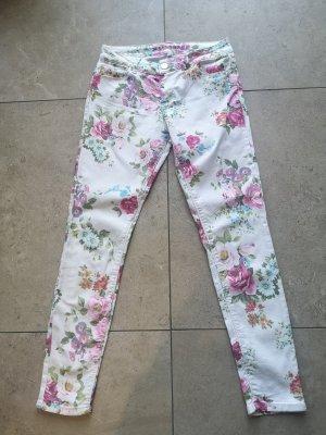 Hallhuber Jeans Gr 36 Blumenhose Skinny Jeans Frühling